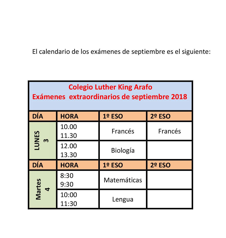 Calendario De Examenes.Arafo Calendario De Examenes De Septiembre Luther King