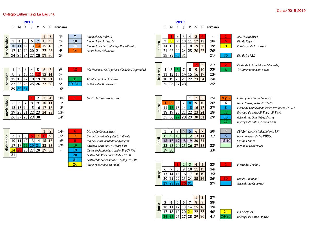 Calendario 2018 2019.School Calendar Lkl 2018 2019 Luther King